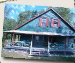 rustic cedar shingle cottage painted green with brown trim.